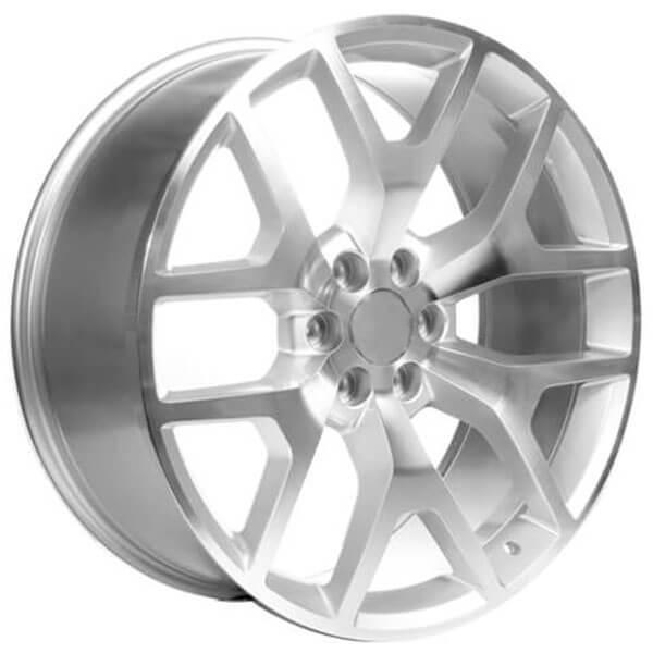 "22"" GMC Sierra Wheels 288 Silver Machined OEM Replica Rims"