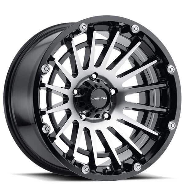"17"" Vision Wheels 417 Creep Gloss Black Machined Off-Road Rims"