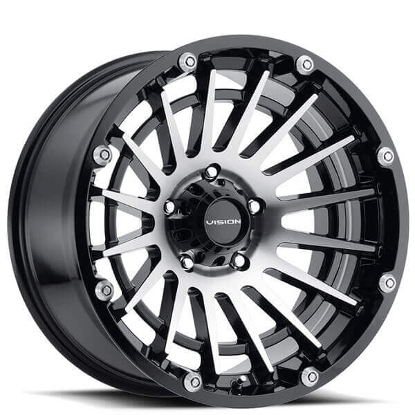 "18"" Vision Wheels 417 Creep Gloss Black Machined Off-Road Rims"