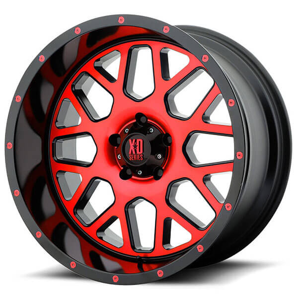 """20"""" XD Wheels XD820 Grenade Satin Black Machined Face with Red Tinted Clear Coat Off-Road Rims"""
