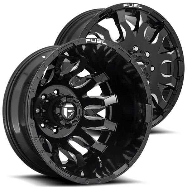 "20"" Fuel Wheels D673 Blitz Dually Gloss Black Milled Off ..."