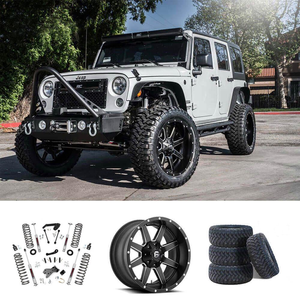 "07-18 Jeep Wrangler JK 20x10"" Wheels + Tires + Suspension"