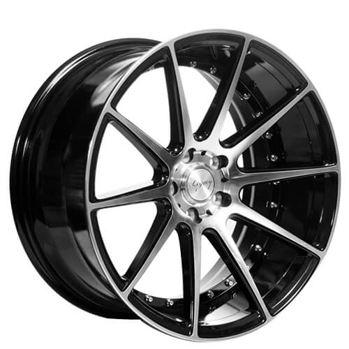 "20"" Staggered ERW Wheels ERW-1 Black Machined Rims"