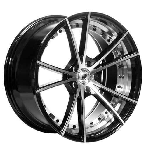 "20"" Staggered ERW Wheels ERW-2 Black Machined Rims"