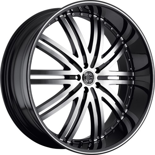 "22"" 24"" 26""  2Crave Wheels No.11 D1 Diamond Glossy Black Rims"