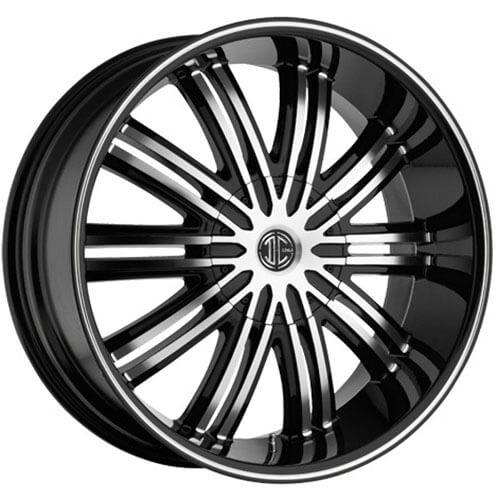 "20""  2Crave Wheels No.7 Black Diamond Glossy Black Rims"