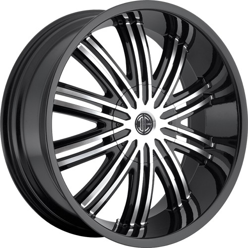 """22"""" 24""""  2Crave Wheels No.7 Glossy Black W Machined Face Rims"""