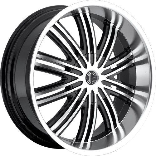 """22"""" 24""""  2Crave Wheels No.7 Glossy Black W Machined Face/MS Lip Rims"""
