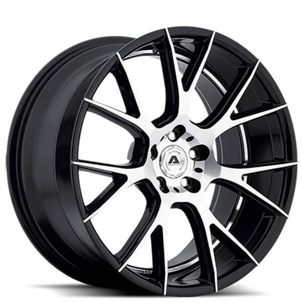 "22"" Staggered Asanti Adventus Wheels AVX-7 Black Machined Rims (High Off-Set)"