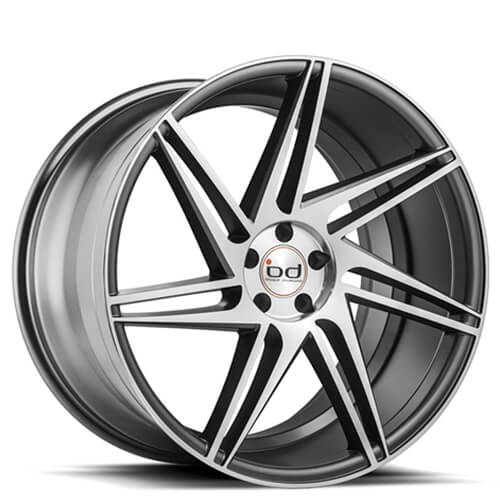 "20"" 22"" Blaque Diamond Wheels BD1 Graphite Machined Rims"