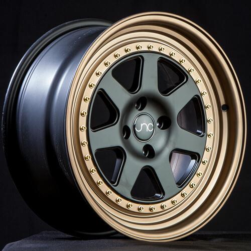 "16"" 17"" JNC048 Wheels Black Gold JDM Rims"