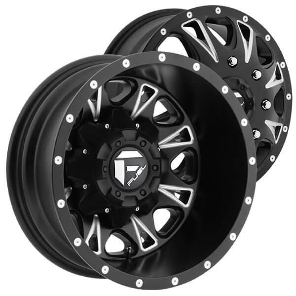 """2009 Dodge Ram 2500 Fuel Maverick D538 Fabtech Suspension: 17"""" Fuel Wheels D513 Throttle Dually Matte Black Milled"""