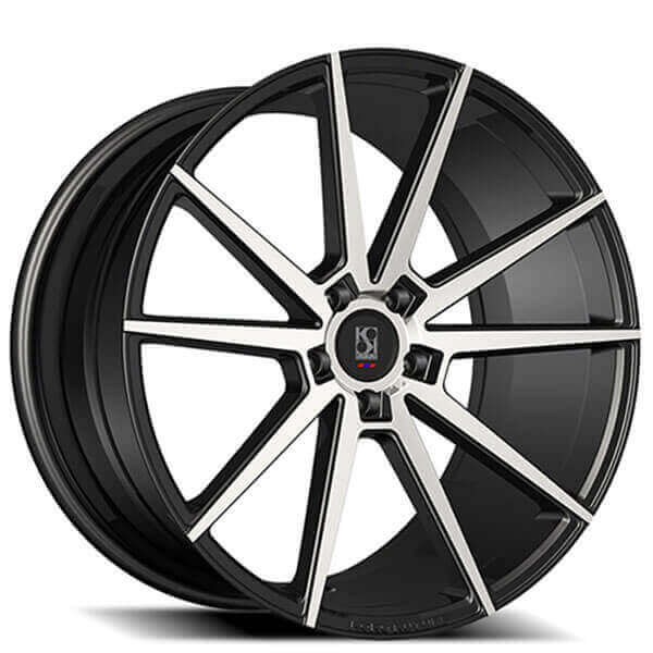 "24"" Koko Kuture Wheels Le Mans Black Machined Rims #GV072-5"