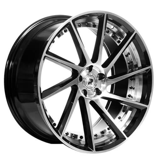 "22"" Staggered ERW Wheels ERW-3 Black Machined Rims"