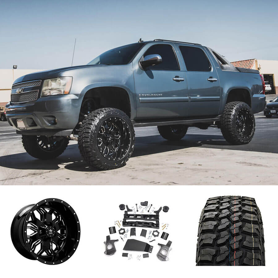 """2007 Chevy Avalanche 1500 22x12"""" Wheels + Tires + Suspension Package Deal"""