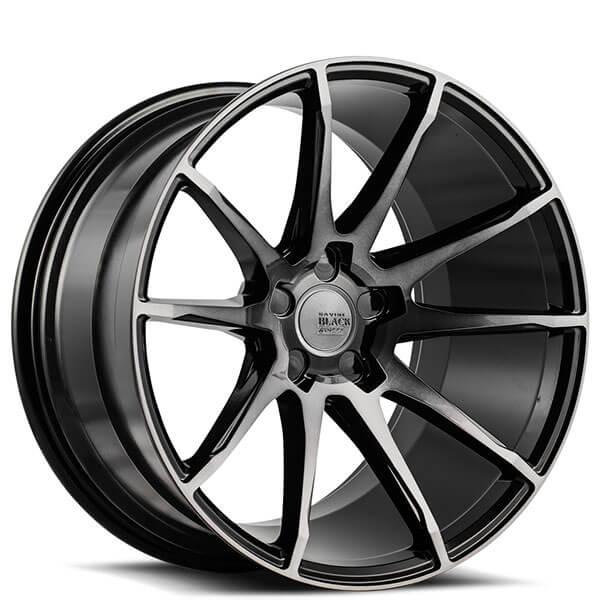 """Mazda 3 Bm Bn 2014 2019: 19"""" Staggered Savini Wheels Black Di Forza BM12 Gloss"""