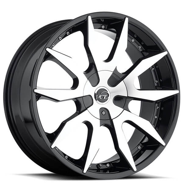 "22x8.5"" VCT Wheels V54 Black Machined Rims"