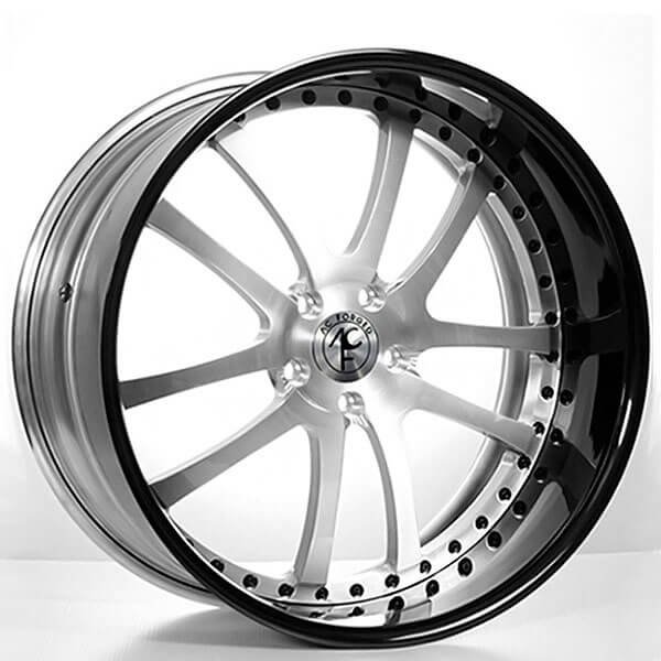 """19"""" Staggered AC Forged Wheels AC312 Brushed Face with Black Lip Three Piece Rims"""
