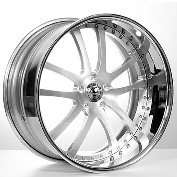 """20"""" Staggered AC Forged Wheels AC312 Brushed Face with Chrome Lip Three Piece Rims"""