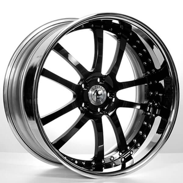 "22"" AC Forged Wheels AC312 Black Face with Chrome Lip Three Piece Rims"