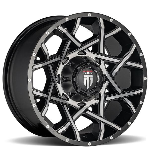 """20"""" American Truxx Wheels AT-1901 Gridlock Black Machined Face Off-Road Rims"""