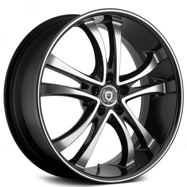 "20"" Staggered Asanti Wheels ABL-6 Black Machined Rims (High Off-Set)"
