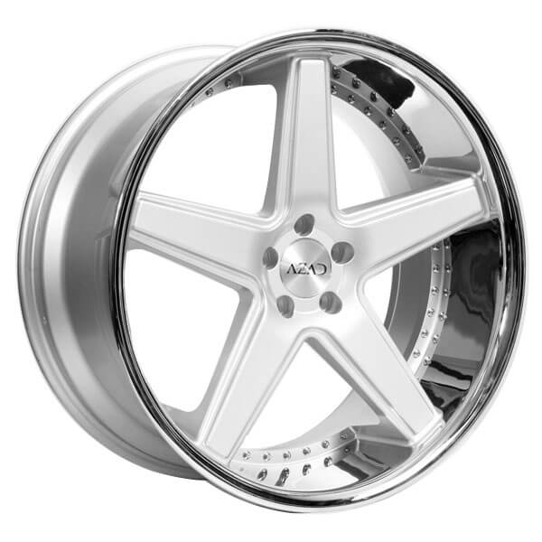 "22"" Staggered Azad Wheels AZ0008 Silver Brushed with Chrome Lip Rims"
