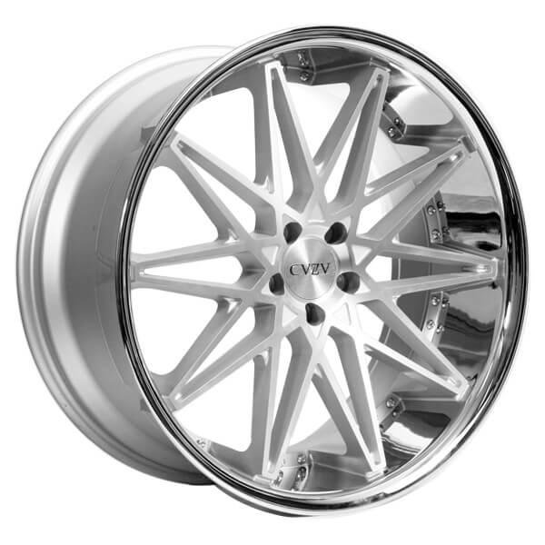 22 Quot Azad Wheels Az41 Silver Machined With Chrome Lip Rims Az032 1
