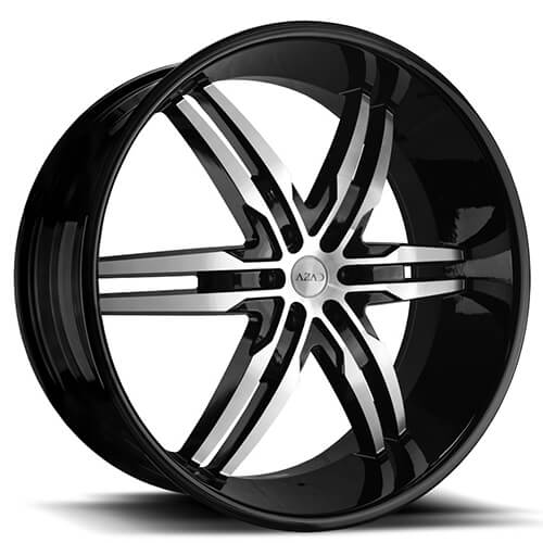 "26"" Azad Wheels AZ626 Black Machined Rims"