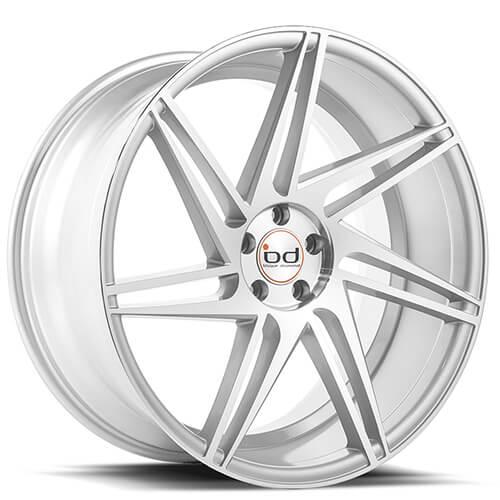 "20"" 22"" Blaque Diamond Wheels BD1 Silver W/ Polished Face Rims"