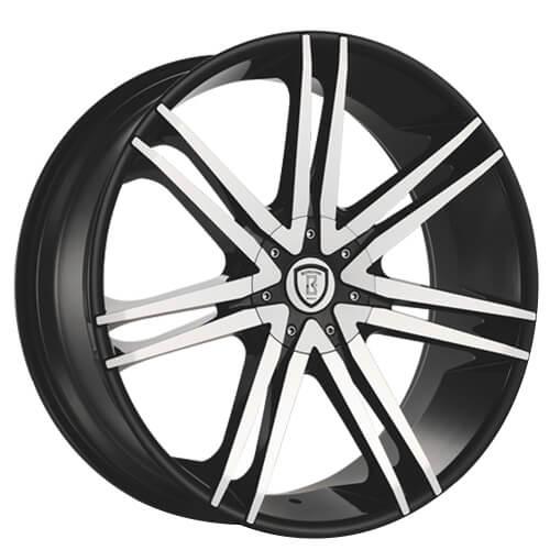 "22"" Borghini Wheels B20 Black Machined Rims"