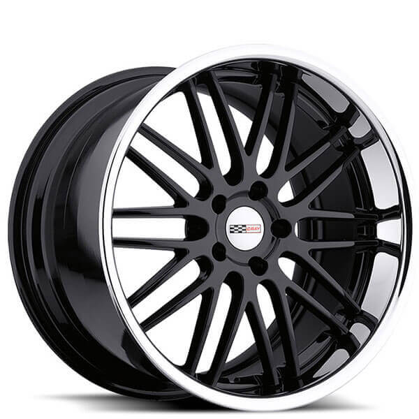 """19/20"""" Staggered Cray Wheels Hawk Gloss Black With Chrome"""