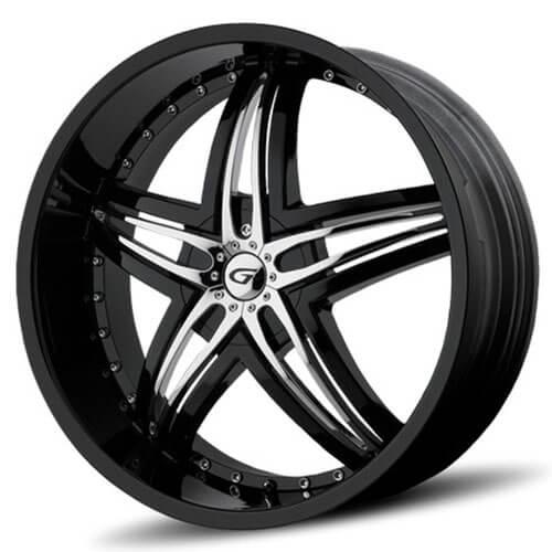 "24"" Diablo-Gianna Wheels Blitz Black W Chrome Insert Rims (Reg $1699)"