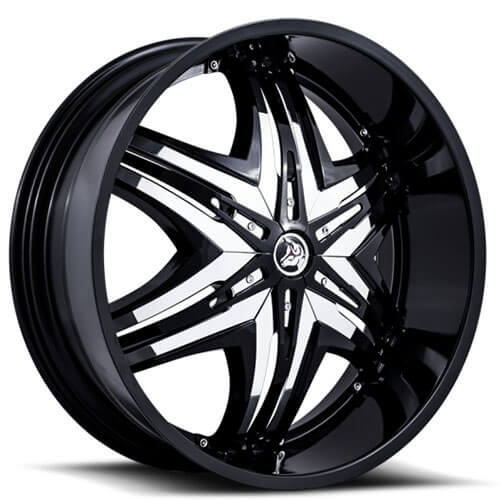 "22"" 24"" Diablo Wheels Elite Black W Chrome Insert Rims"