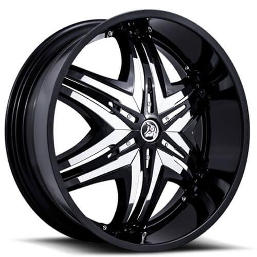 "26"" 28"" 30"" Diablo Wheels Elite Black W Chrome Insert Rims"