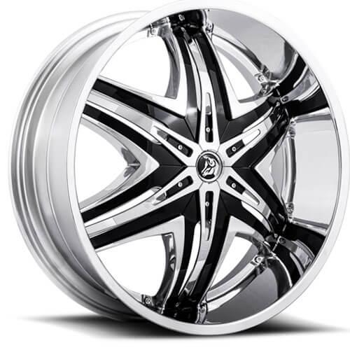 22x8 5 Quot Diablo Wheels Elite Chrome With Black Insert Rims