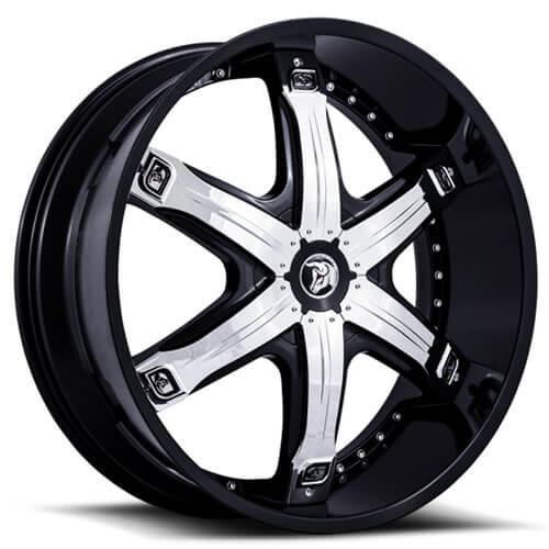 "26"" 28"" Diablo Wheels Fury Black W Chrome Insert Rims"
