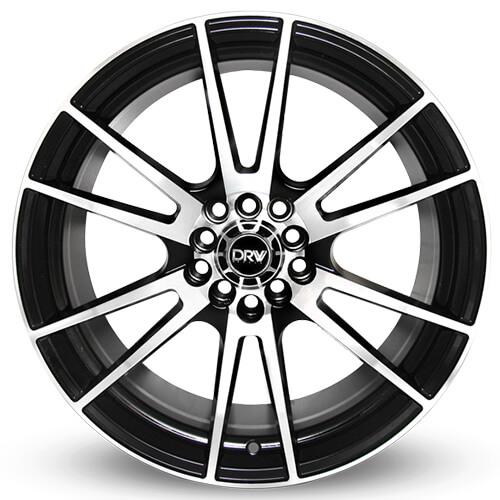 "17"" 18"" DRW Wheels D2 Black Machined Face Rims"