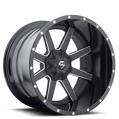 """22x14"""" Fuel Wheels D262 Maverick Black Two Piece Rims"""
