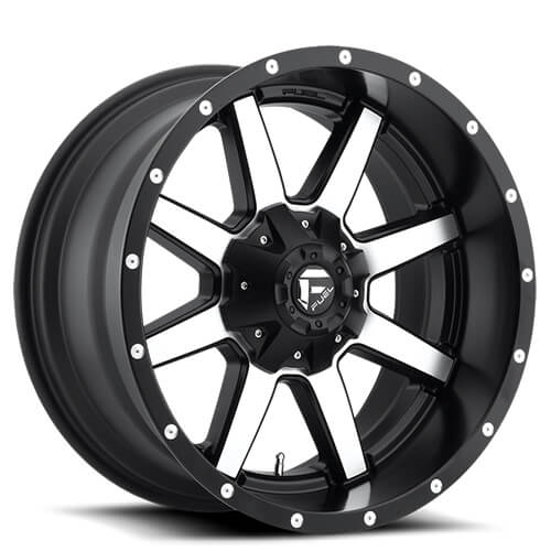 "20"" Fuel Wheels D537 Maverick Black Machined Rims"