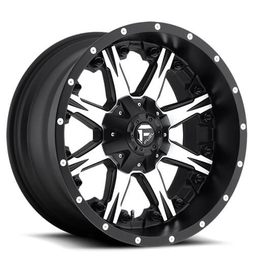 "20"" Fuel Wheels D541 Nutz Black Machined Rims"