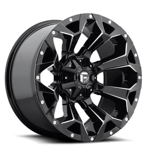 """20"""" Fuel Wheels D576 Assault Gloss Black & Milled Rims"""