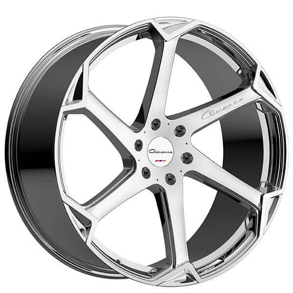 "4-Pack Giovanna 22"" Staggered Wheels Dalar-X Chrome Rims"