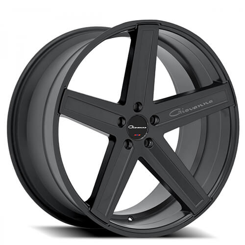 "20"" Staggered Giovanna Wheels Dramuno-5 Black Rims"