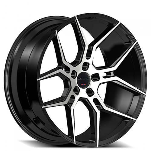 "22"" Staggered Giovanna Wheels Haleb Black Machined Rims"