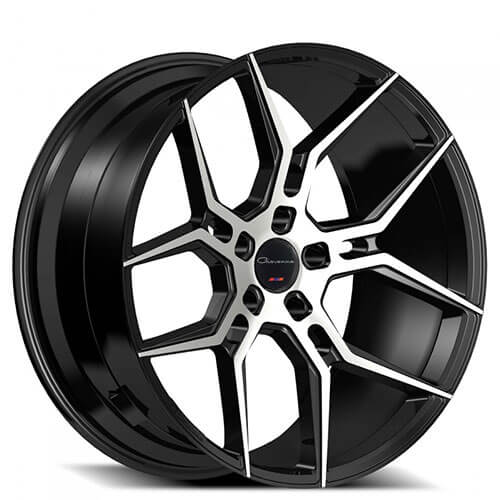 "20"" Staggered Giovanna Wheels Haleb Black Machined Rims"