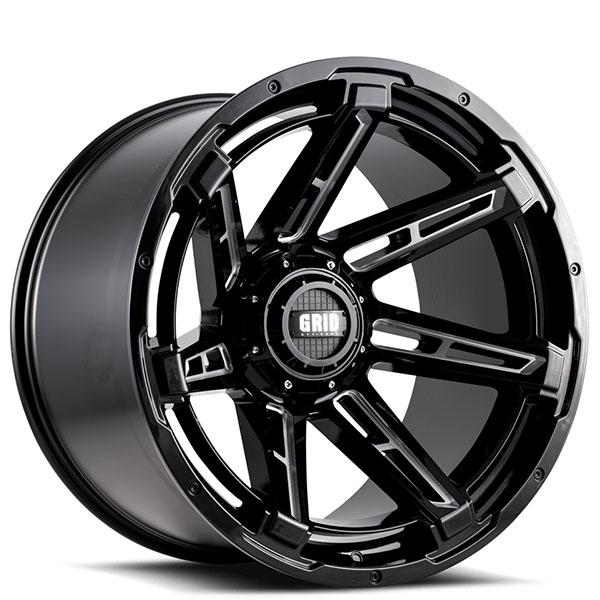 "20"" Grid Wheels GD12 Gloss Black Milled Off-Road Rims"