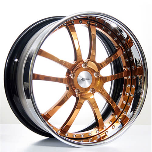 "19""20""22""24"" AC Forged Wheels Rims 312 Copper face w/Chrome Lip 3 piece"