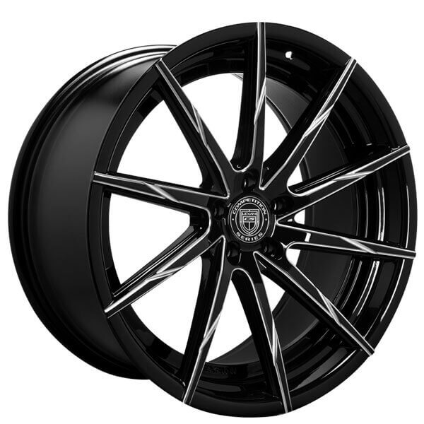 "22"" Staggered Lexani Wheels CSS-15 Gloss Black Milled Rims"