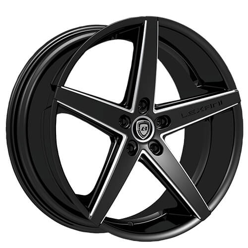 """22"""" Staggered Lexani Wheels R-Four Black With CNC Accents"""